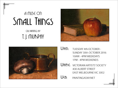 An exhibition flyer including a painting of an apple beside a book and a painting of a mushroom beside a small copper pot.