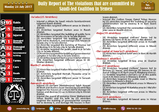 The Violations and Crimes that are committed by #Saudi_Arabia and its alliance in #Yemen 24/7/2017