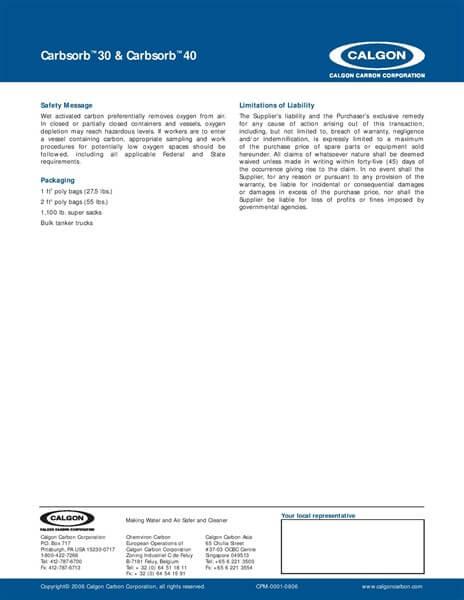 Product Data Sheet (PDS) Karbon Aktif Calgon CarbSorb 30&40