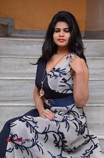 Telugu Actress Alekhya Stills in Blue Long Dress at Plus One ( 1) Audio Launch  0120.jpg