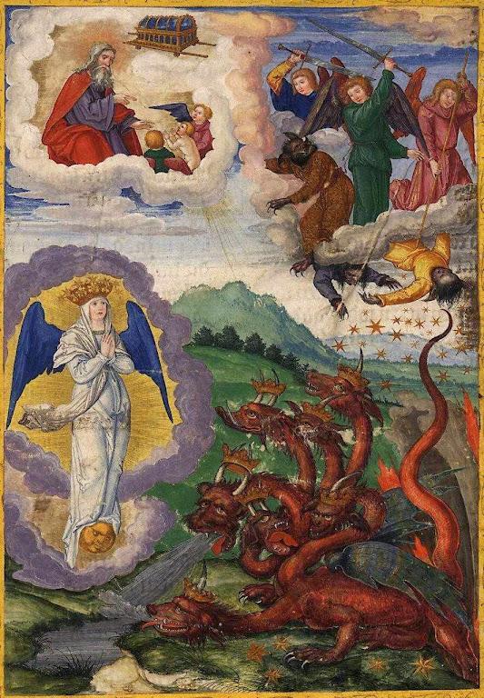 O dragão tenta inutilmente engolir a Igreja, cena do Apocalipse. Ottheinrich-Bibel, Bayerische Staatsbibliothek, Cgm 8010, Folio295r