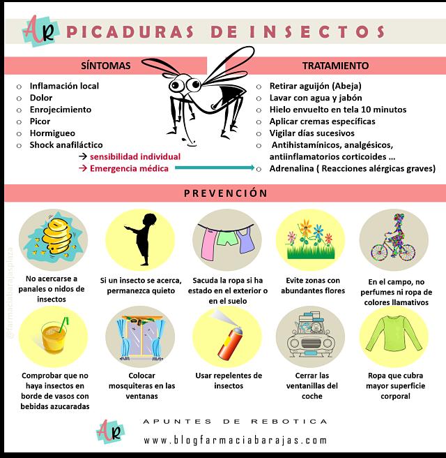 Infografía picaduras de insectos, blog de consejo farmacéutico