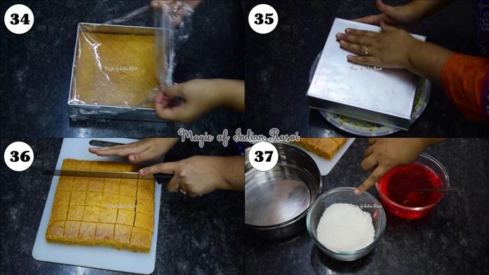 Lamington Cake (Eggless) Recipe - लैमिंगटन केक (एग्ग्लेस) रेसिपी - Priya R - Magic of Indian Rasoi