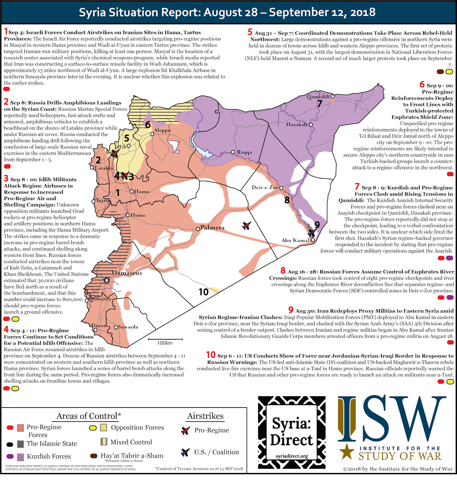 the map depicts significant developments in the war in syria during the period august 28 september 12 2018