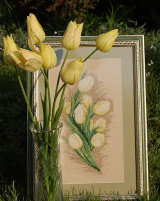 тюльпаны вышивка крестом