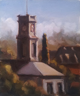Oil painting of a Victorian-era clock tower surrounded by trees and buildings.
