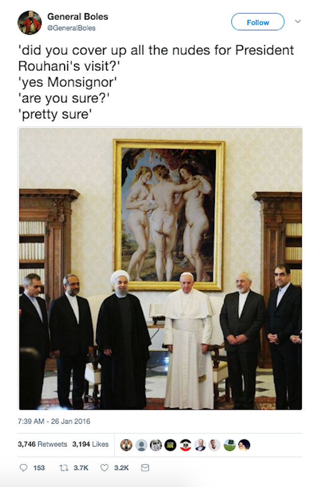 @GeneralBoles The Vatican fails to cover up the nudes for Iranian President's visit.