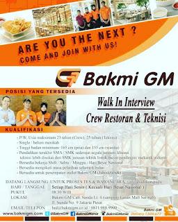 Info Lowongan Kerja Bakmi GM Jakarta Juni 2018
