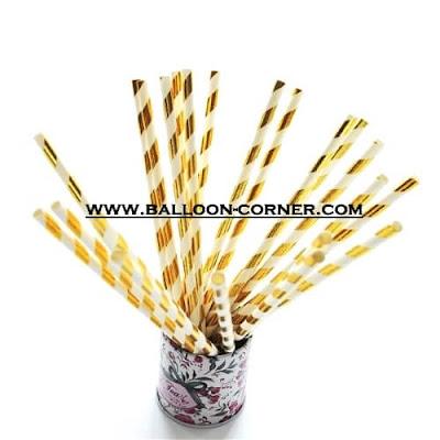Gold Spiral Paper Straws / Sedotan Kertas Motif Spiral Gold