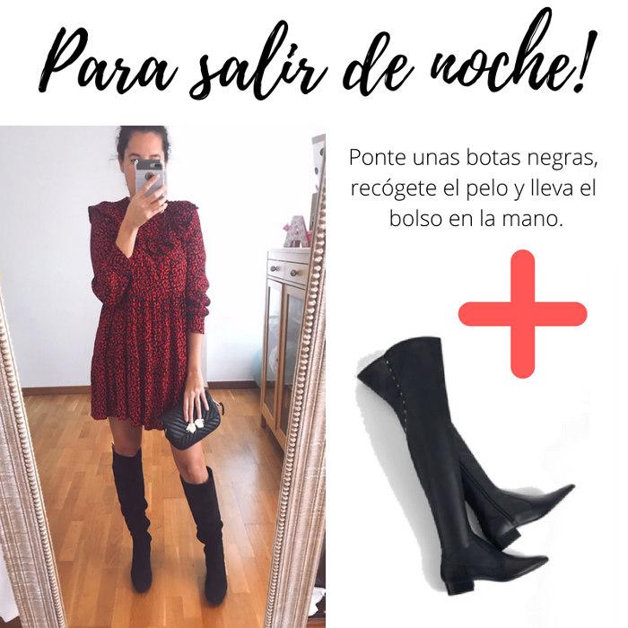 botas negras zara vestido rojo negro volantes riñonera bandolera zara negra