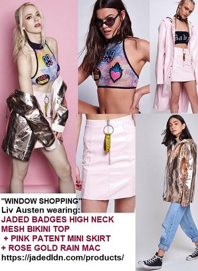 "a218f5f5 For her ""Window Shopping"" single cover art Liv Austen wore a JADED Badges  High Neck Mesh Bikini Top (80% polyamide / 20% elastane £25.00 (Product; ..."