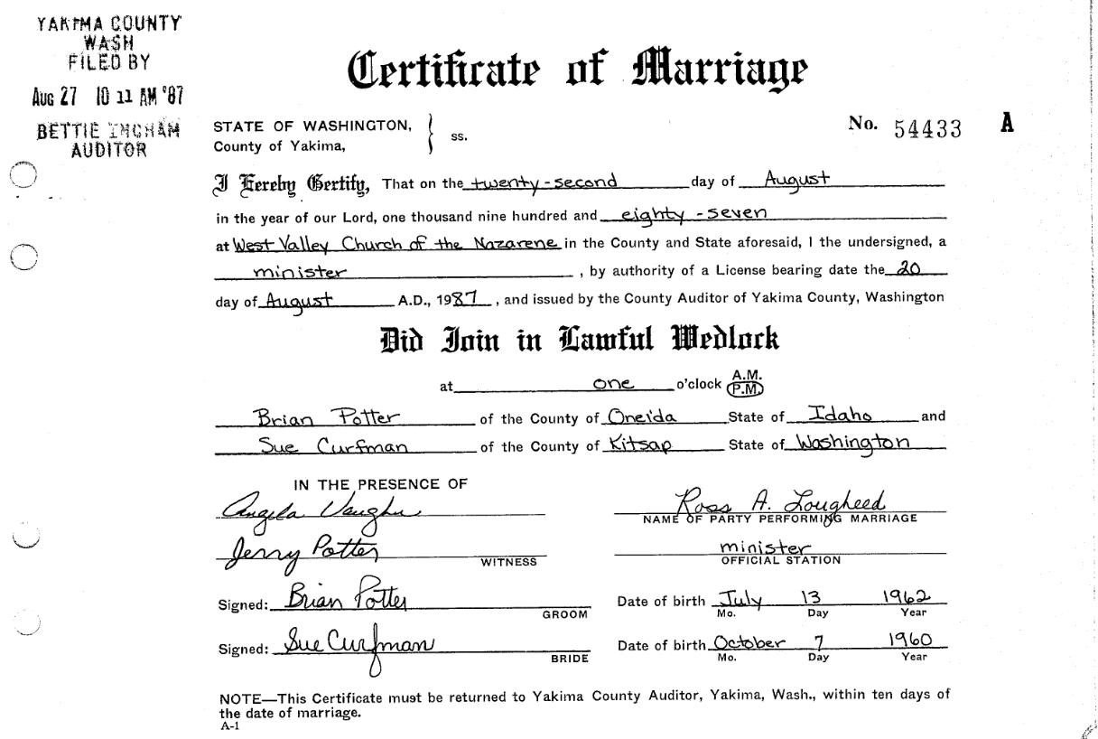 Potter Profiles Potter Curfman Marriage 1987 Yakima Wa