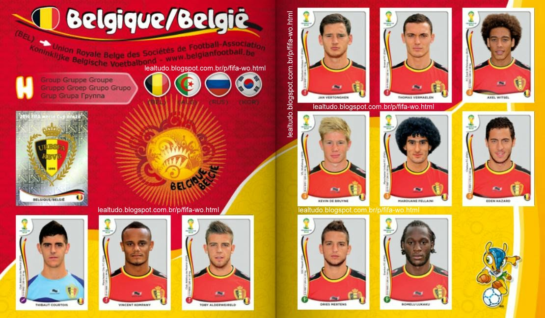 Album BELGIQUE - BELGIE - BELGICA Fifa World Cup BRAZIL 2014 LIVE COPA DO MUNDO Sticker Figurinha Download Lealtudo