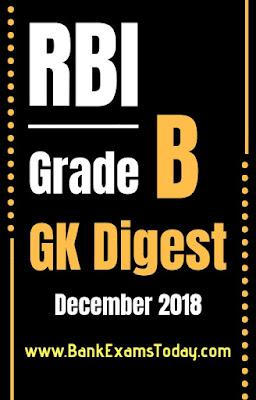 RBI Grade B GK Digest- December 2018