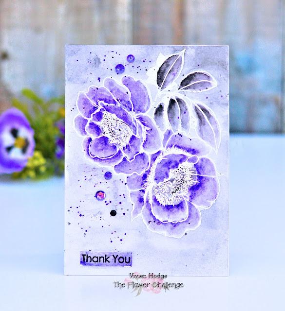Altenew, Wallpaper Art, Purple, Grey, Flower Challenge #32, Embossing Heat/Dry