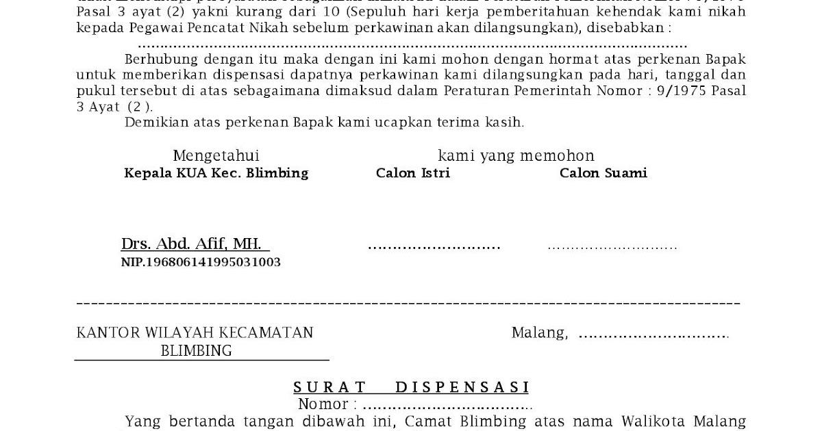 Kua Blimbing Kota Malang Contoh Surat Permohonan Dispensasi