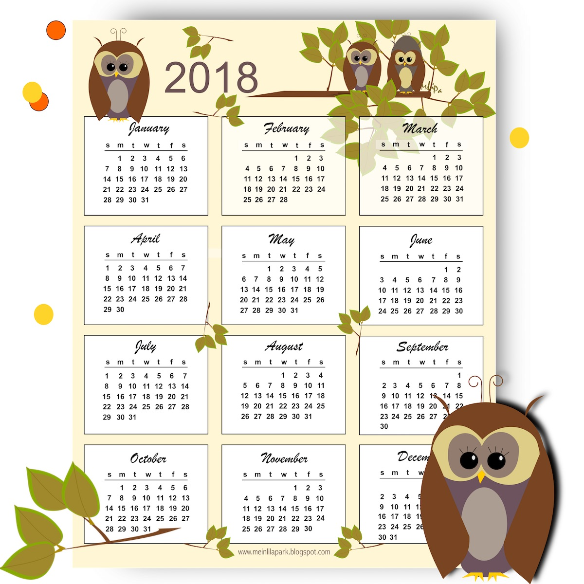 Hello cuteness freebies 2018 calendars