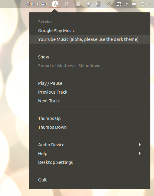 YouTube Music tray