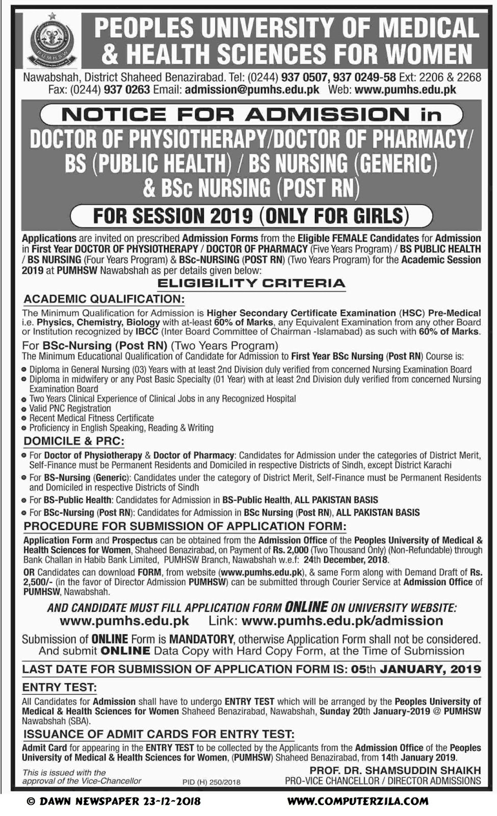 Admissions Open For Spring 2019 At PUMHS Nawabshah Campus