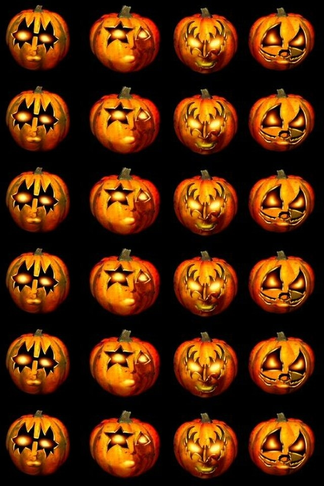 Cool Iphone Wallpapers Scary Carved Halloween Pumpkins