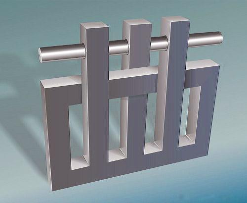 Üç imkansız sütundan geçen çelik bar