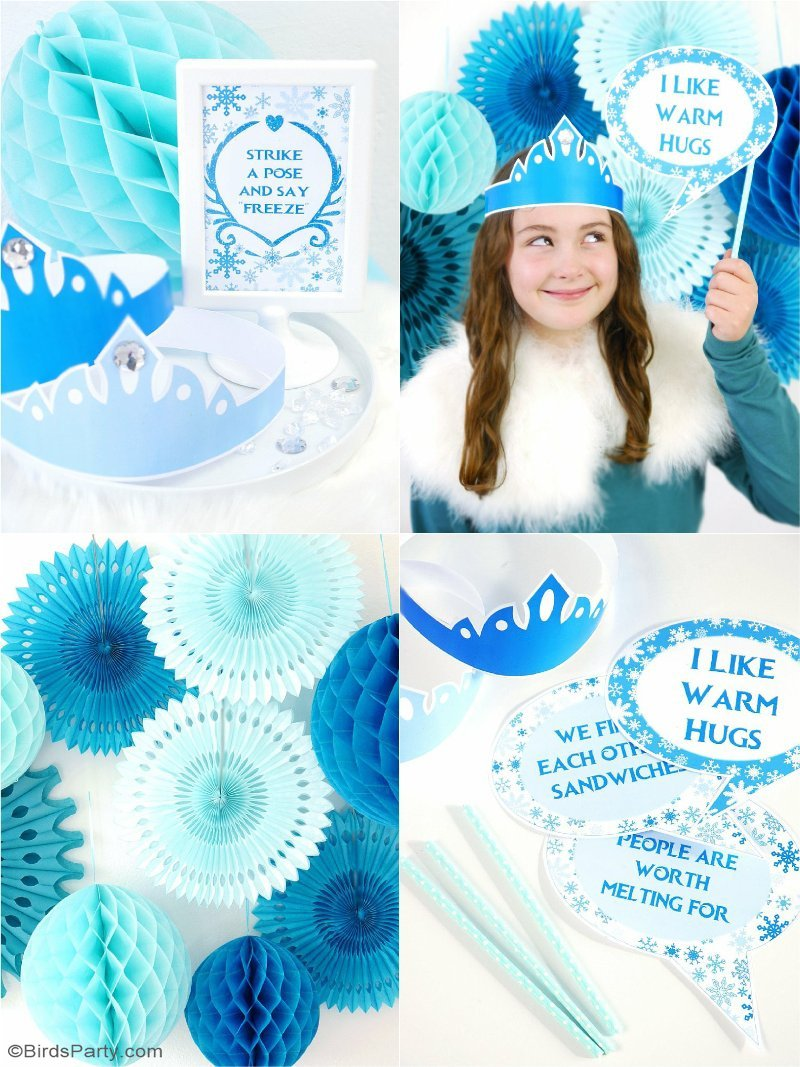 DIY Frozen Inspired Party Photo Booth - decor ideas to set this quick and simple photo with printable props for a Frozen birthday party or winter celebration! | BirdsParty.com