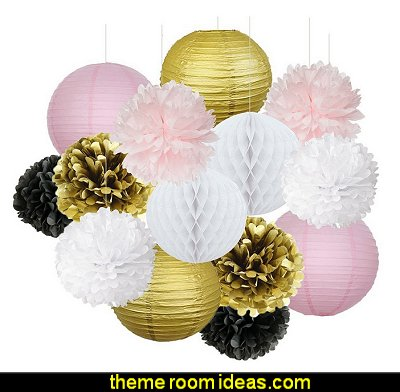 French/Parisian Pink Gold White Black Paris Party Decorations - Tissue Paper Pom Pom Honeycomb Ball/Paper Lanterns  - Ooh La La
