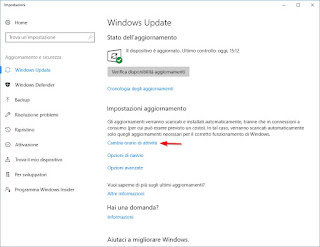 Orario attività Windows 10