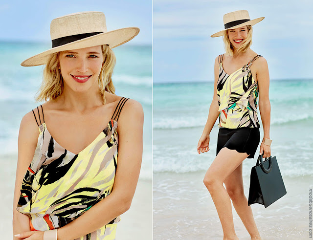 Moda primavera verano 2018 ropa de mujer. Moda casual chic primavera verano 2018 blusas y shorts.