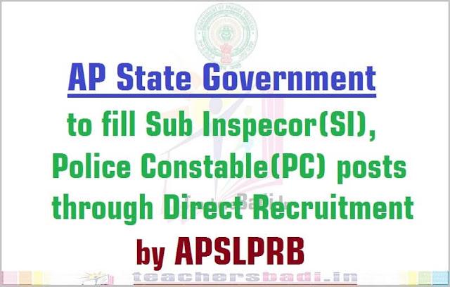 AP SI,Police Constable posts,APSLPRB