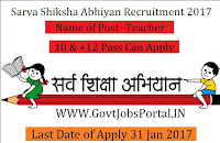 487 Vacancies Sarva Shiksha Abhiyan Recruitment 2017-Teacher Post