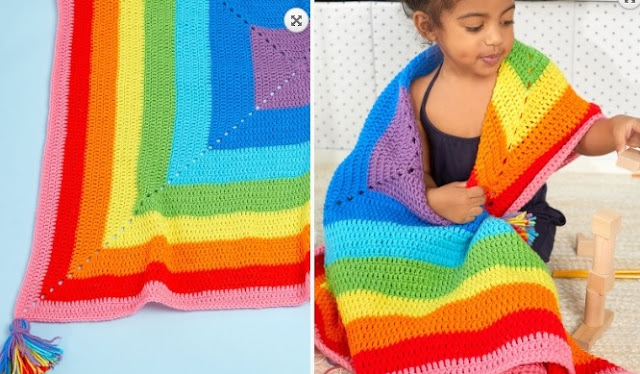 Free Easy to Crochet Rainbow Blanket Pattern
