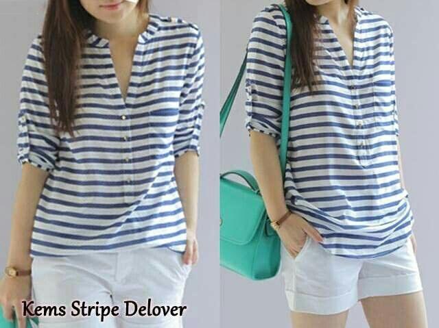 Jual Blouse Kemeja Stripes Delover V-Neck - 12914