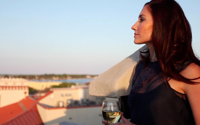 brunette on rooftop in St. Augustine