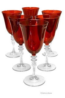 Red stemware glasses
