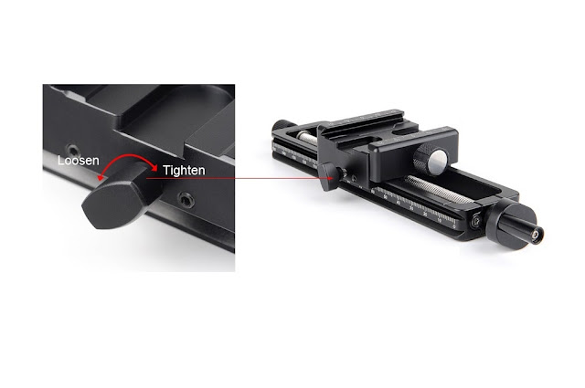 Sunwayfoto MFR-150S Macro Focusing Rail carriage brake detail