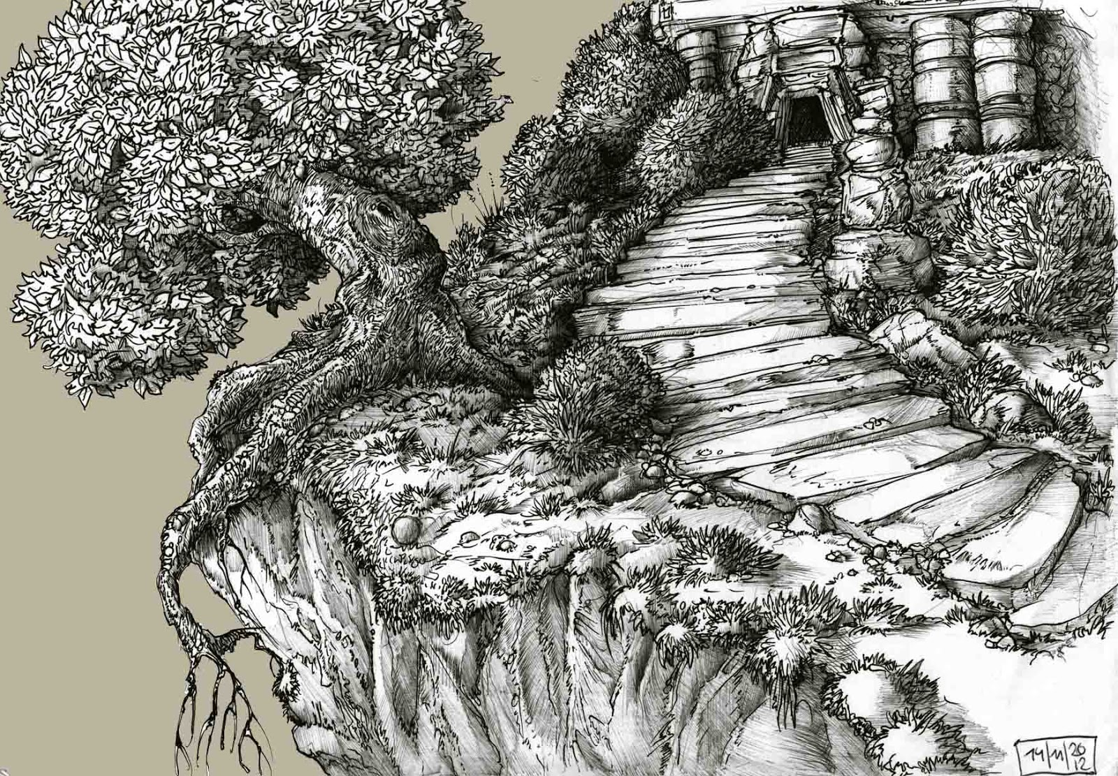 Drawing Pencil | How To Draw a Landscape with Trees and a ... |Tree Landscape Drawing
