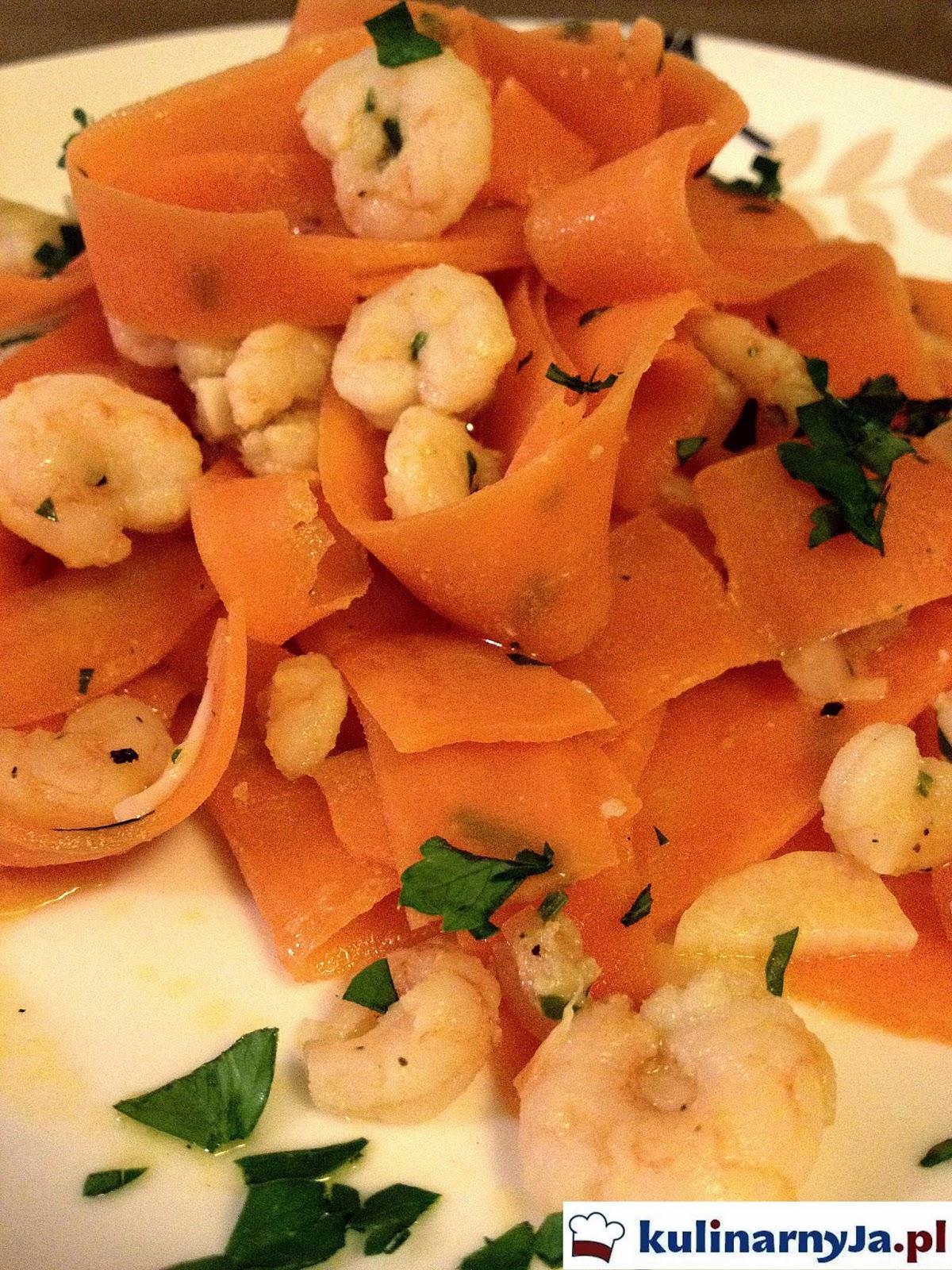 Krewetki z marchewkowym pappardelle w cytrynowym sosie