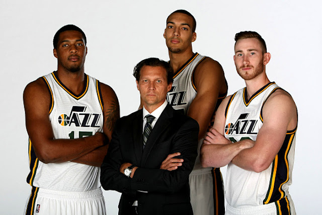 Derrick Favors, Utah Jazz & Quinn Snyder, Coach Utah Jazz & Rudy Gobert, Utah Jazz & Gordon Hayward, Utah Jazz