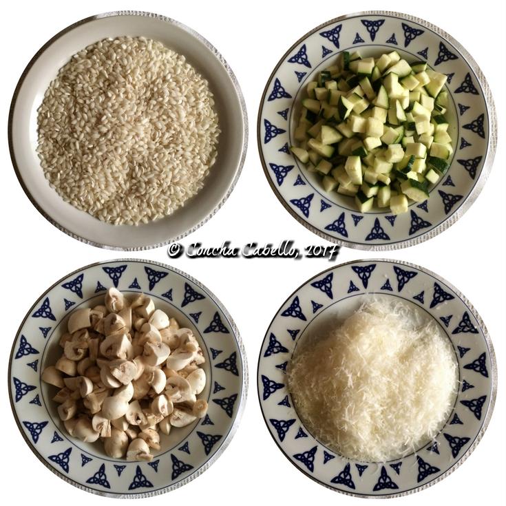 risotto-calabacín-champiñón-ingredientes