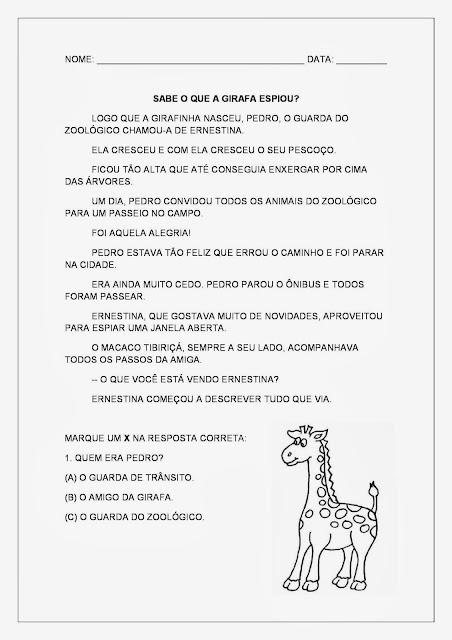 Textos Curtos - Texto sobre animais - A girafa