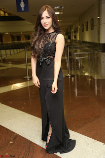 Angela Krislinzki in Transparent Black Gown at Rogue Movie Teaser Launch 1st March 2017 007.JPG
