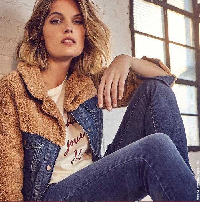 Camperas de jeans con corderito invierno 2019. Moda invierno 2019 mujer.