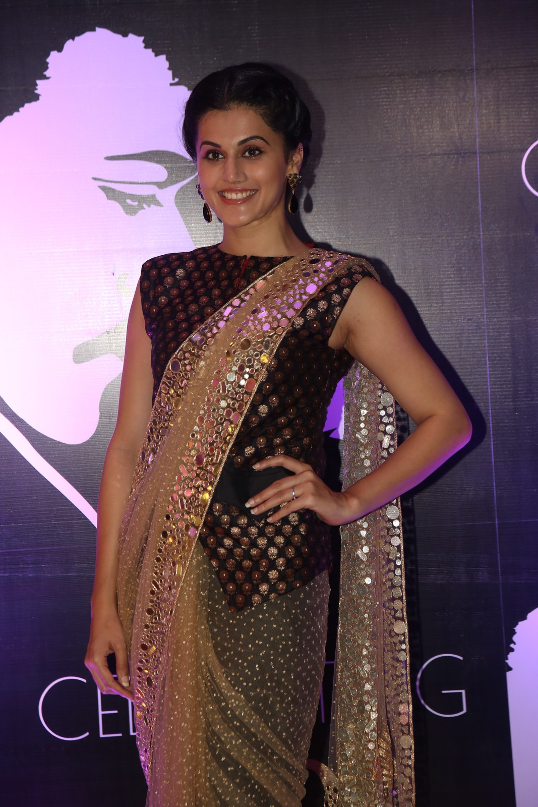 Tapsee Latest Hot Photoshoot In Black Saree