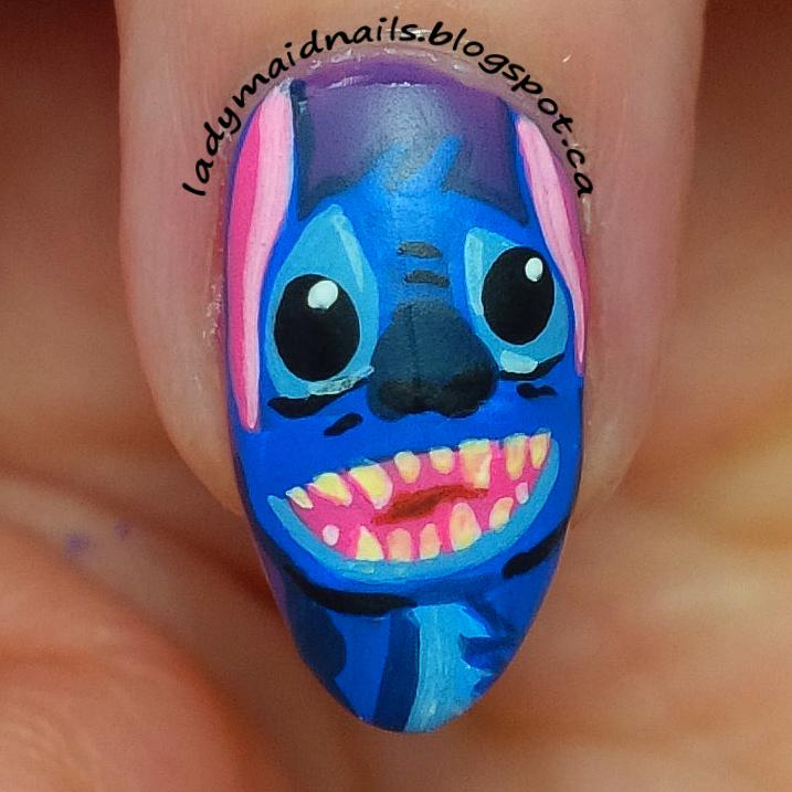 Nail Art Stitch: Lady Maid Nails: Lilo And Stitch Nail Art