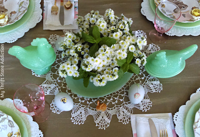 vintage jadeite spring tablescape