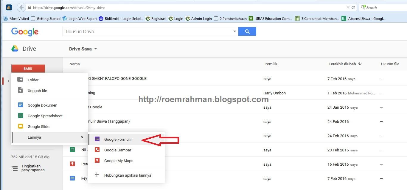 membuat absensi siswa online di google