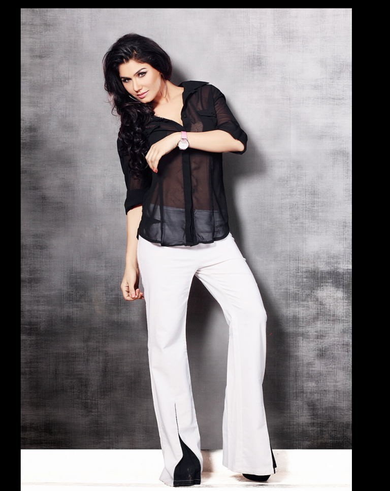 Kangana Sharma in black shirt white pant, Kangana Sharma profile