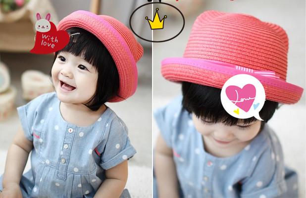 《Baby Love》正版韓國童裝專賣: 正版韓國品牌~小熊耳朵蝴蝶結緞帶編織草帽 (粉橘色/白色/咖啡色)