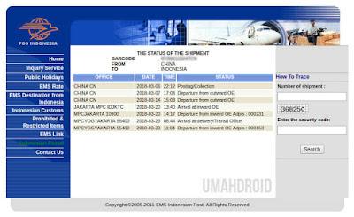 Status Kiriman Paket EMS